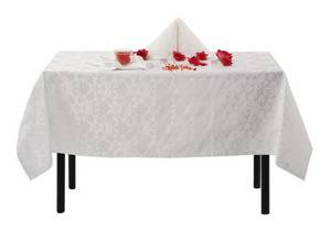 Скатерть 280х145 010101/1589 Белая цветочный узор