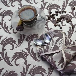 Ткань Мати 050303+191436/1625 серебристо-коричневая перья