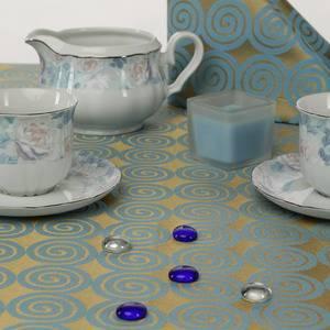 Ткань Мати 040403+310503/1666 золотисто-голубая круги