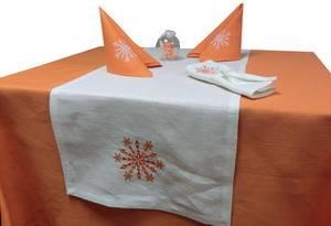 Дорожка новогодняя ЛЁН 42х110 белая с вышивкой