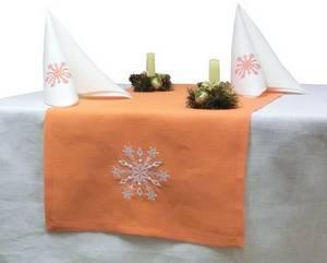 Дорожка новогодняя ЛЁН 42х110 оранжевая с вышивкой