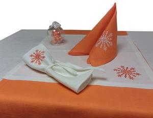 Куверт новогодний ЛЁН белый с вышивкой для столовых приборов