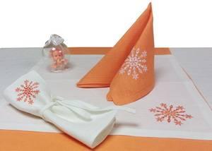 Салфетка новогодняя ЛЁН 35х35 белая с вышивкой