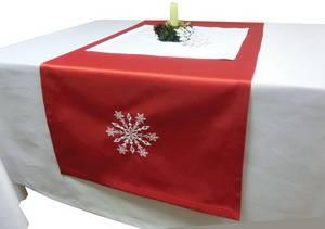 Дорожка новогодняя 125х43 Ричард 191663/1346 красная гладь с вышивкой СНЕЖИНКА