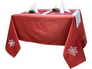 Скатерть новогодняя 145х220  Ричард 191663/1346 красная гладь с вышивкой СНЕЖИНКА