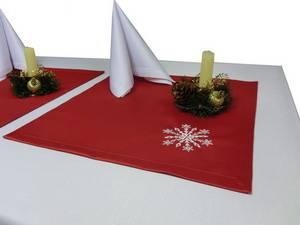 Салфетка новогодняя 43х43 Ричард 191663/1346 красная гладь с вышивкой СНЕЖИНКА