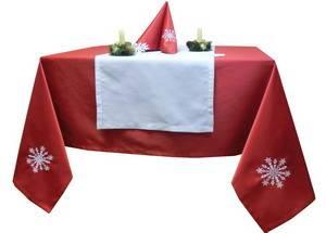 Скатерть новогодняя 145х180  Ричард 191663/1346 красная гладь с вышивкой СНЕЖИНКА