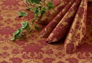 Скатерть овальная 220х150 040403+161004/1589 Золотисто-бордовая цветочный узор