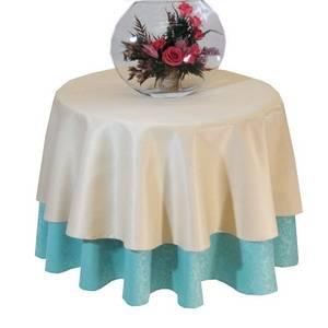 К-т: Скатерть Д=150 380302/1472 Салатовая мелкий цветок + Наперон Д=120 050303/2 Бежевая гладь