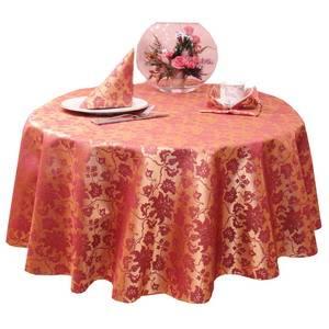 Скатерть Д=150 040403+161004/1589 Золотисто-бордовая цветочный узор