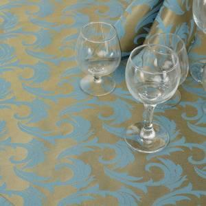 Ткань Мати 040403+310503/1625 золотисто-голубая перья
