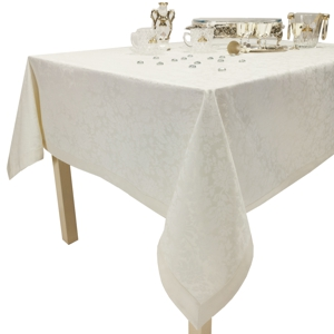 Скатерть 195х145 Ричард 110701/2218 шампань цветок с окантовкой ПРЕМИУМ
