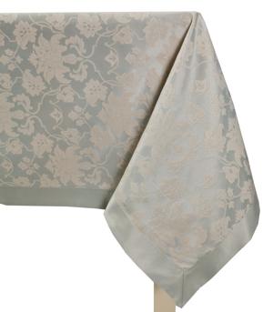 Скатерть 195х145 серебро цветочный узор с окантовкой ПРЕМИУМ