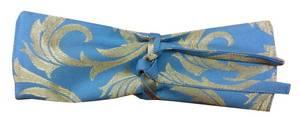 Куверт Зефир для 3-х столовых приборов из ткани Мати зол-голубая