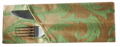 Куверт (Конверт для столовых приборов) Зол-Зеленые Перья для 2-х приборов