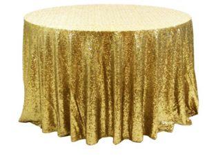 Скатерть Д=300 см пайетки золото