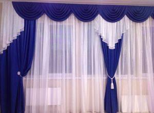 Шторы для кафе синие большое окно